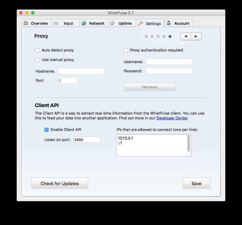Client API Settings
